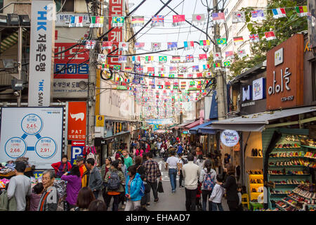 Seoul, South Korea - October 25, 2014: The busy and traditional Nam Dae Mun Market in the middle of an autumn day - Stock Photo