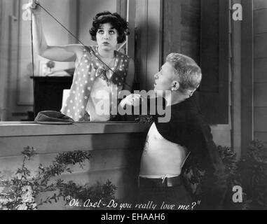 Helen Kane, Stuart Erwin, on-set of the Film 'Sweetie', 1929 - Stock Photo