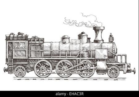 retro steam locomotive vector logo design template. train or railway transportation icon. - Stock Photo