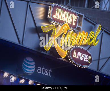 Hollywood, California, USA. 14th Oct, 2014. The Jimmy Kimmel Live! neon sign and logo as seen mounted above the - Stock Photo