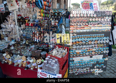 Shop selling souvenirs, gifts, presents, objects for tourists. Rome, Roma, Italy, Italia, Italian city - Stock Photo