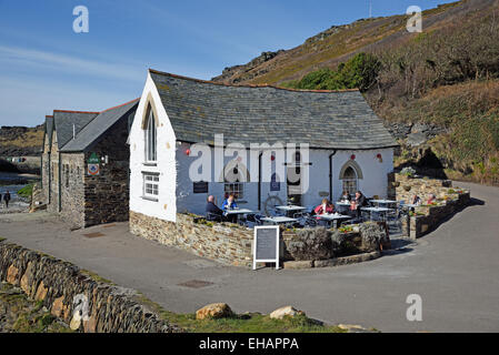 The Harbour Light Tea Garden and Cafe at Boscastle, Cornwall, UK  This building was completely destroyed by a flood - Stock Photo