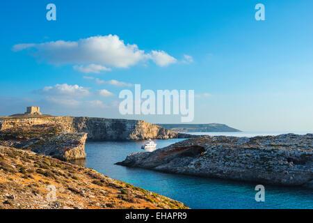 Mediterranean Europe, Malta, Comino island, cliff top watchtower - Stock Photo