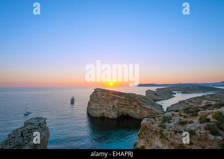 Mediterranean Europe, Malta, Comino island, sunset - Stock Photo