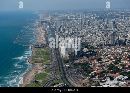 Aerial Photography of Tel Aviv, Israel view of the coast line as seen from south - Stock Photo