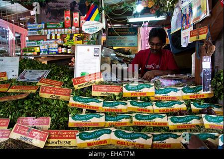 Herbal medicine store, Central Market, Port Louis, Mauritius - Stock Photo