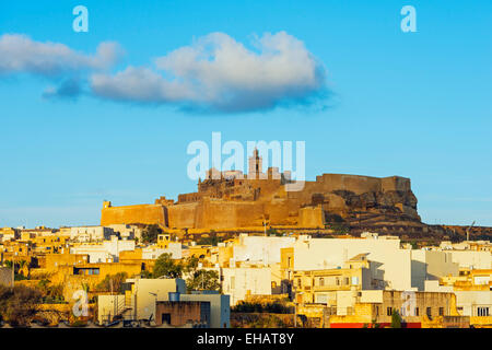 Mediterranean Europe, Malta, Gozo Island, Victoria (Rabat), Il-Kastell citadel fortress - Stock Photo