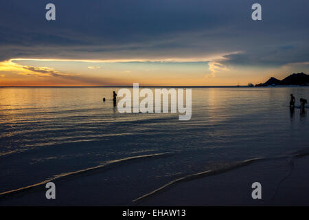 Sunset On Hat Sairee Beach, Ko Tao, Thailand - Stock Photo