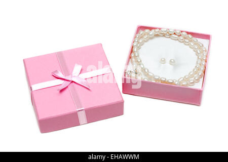 Gift box with necklace from pearl - Stock Photo