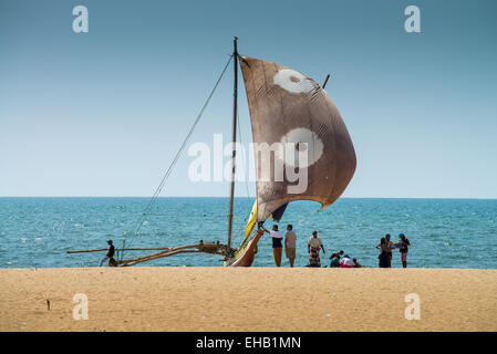 Fishing boat at beach, Sri Lanka, Asia - Stock Photo