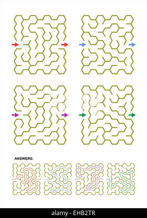 Four different (hexagonally shaped) maze templates suitable for various designs. Answers included. - Stock Photo