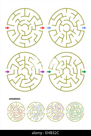 Collection of four different round maze templates for your designs and projects. Answers included. - Stock Photo