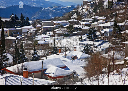 Krania village  on the slopes of Mount Olympus, Larissa, Thessaly, Greece. - Stock Photo