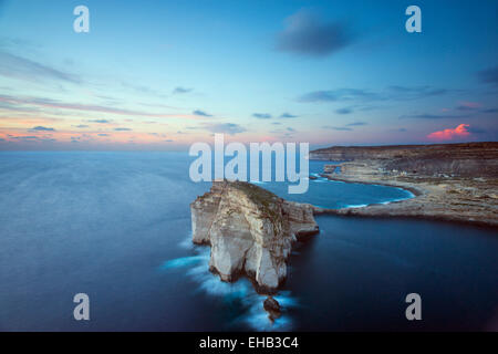 Mediterranean Europe, Malta, Gozo Island, Dwerja Bay,  Fungus Rock  and The Azure Window natural arch - Stock Photo