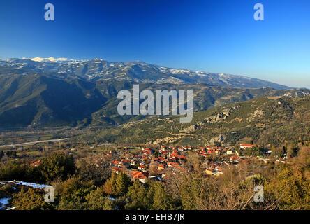Panoramic view of Ambelakia village, Kissavos mountain, Tempi Municipality, Larissa, Thessaly, Greece. - Stock Photo