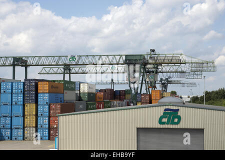 Container harbor Dortmund, Germany - Stock Photo