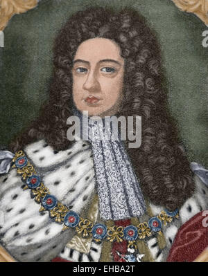 George II (1683-1760). King of Great Britain and Ireland. Elector of the Holy Roman Empire. Portrait. Engraving. - Stock Photo