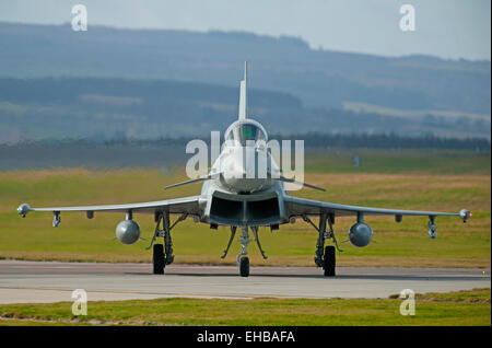 Eurofighter Typhoon FRG4 ZK313 (W) preparing for line up on runway 23 at RAF Lossiemouth, Moray. Scotland.  SCO - Stock Photo