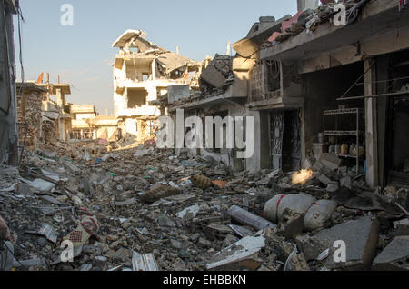 A view of the destruction in Ayn al-Arab also known as Kobanê, the streets are rubble filled and big part of the - Stock Photo
