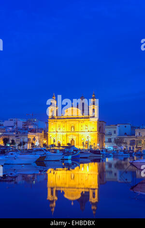 Mediterranean Europe, Malta, Valletta, Msida Creek harbour, St Joseph's Church - Stock Photo