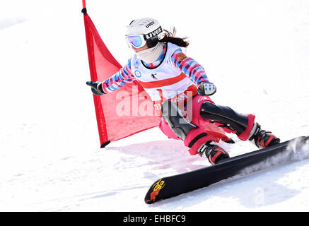 Yabuli town, Heilongjiang, China. 11th March, 2015. Natalia Soboleva of Russia competes during the Ladies' Giant - Stock Photo
