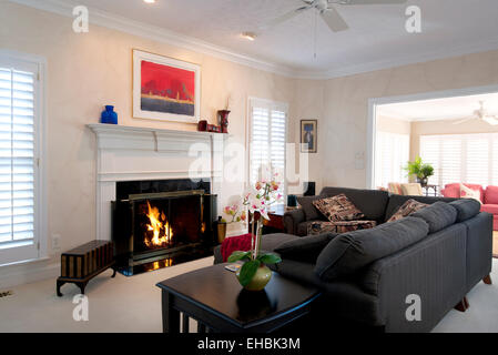 Modern residential interior furnished living room in a single family house - Stock Photo