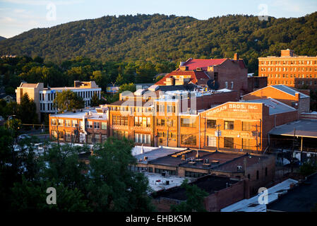 Asheville North Carolina summer skyline sunset - Stock Photo