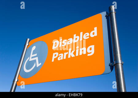 Business, Shops, Shopping, Disabled Parking sign in a supermarket car park. - Stock Photo