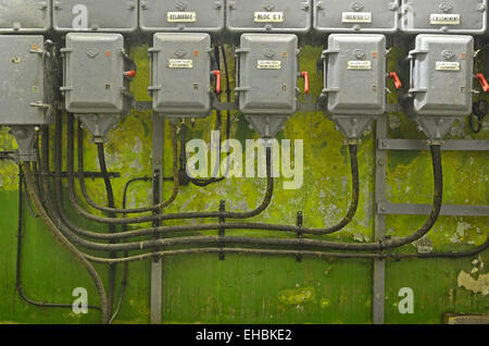 Old Electric Cables and Circuit in Fort Saint Gobain on the Maginot Line Modane Savoie France - Stock Photo