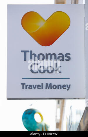 Business, Finance, Money, Thomas Cook Travel Money bureau de change foreign currency exchange sign on a high street - Stock Photo