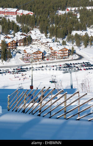 An aerial landscape view of the two and ski resort of Levi Lapland Finland in winter - Stock Photo