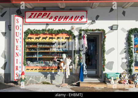 A souvenir or gift shop in the Lapland ski resort of Levi Finland - Stock Photo