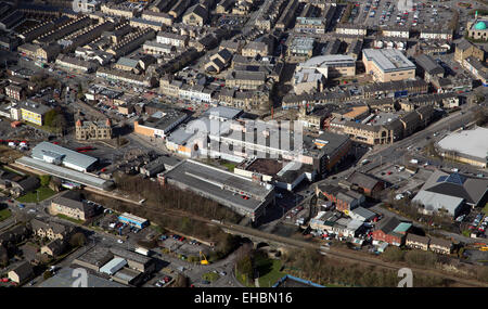 aerial view of the Lancashire town of Nelson - Stock Photo