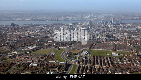 aerial view of the Liverpool Skyline, UK - Stock Photo