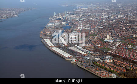 aerial view of Liverpool and The Mersey Estuary, Merseyside, UK - Stock Photo