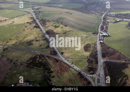 aerial view of Sharlston Common near Wakefield, West Yorkshire, UK - Stock Photo