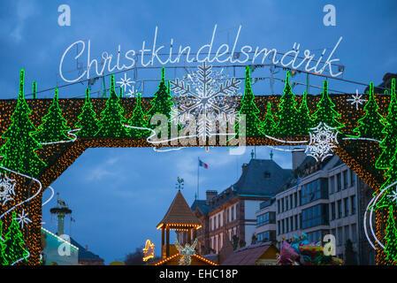'Christkindelsmärik' Christmas market's sign at night, Strasbourg, Alsace, France - Stock Photo