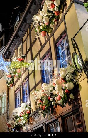'Chez Yvonne' restaurant with Christmas decoration Strasbourg Alsace France - Stock Photo