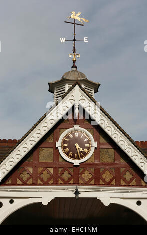 Bletchley Park gatehouse roof with clock Milton Keynes buckingamshire England - Stock Photo