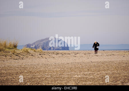 Woman walking on beach, Belhaven Bay - Stock Photo
