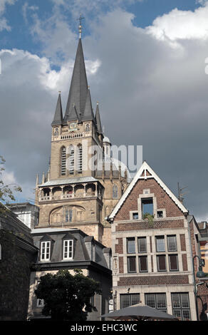 The spire of Aachen Cathedral,  frequently referred to as the 'Imperial Cathedral', Aachen, Germany. - Stock Photo