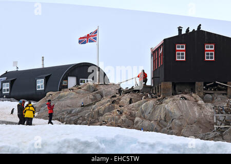 Penguin Post Office the old research station at Port Lockroy, Antarctica. - Stock Photo
