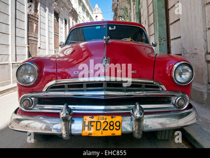 Red 1950s American Dodge Classic Car on Calle Cuba, Habana Vieja, Havana, Cuba - Stock Photo