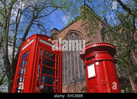Traditional Red Telephone and Postal Boxes, Chester, Cheshire, England, UK - Stock Photo