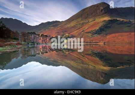Fleetwith Pike reflected in Buttermere, Lake District National Park, Cumbria, England, UK