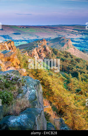 Evening Light on The Roaches, Peak District National Park, Staffordshire, England, UK - Stock Photo