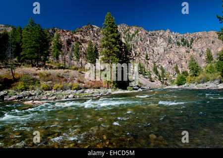 Middle Fork of the Salmon River in the Frank Church - River of No Return Wilderness, Idaho near the mouth of Camas - Stock Photo