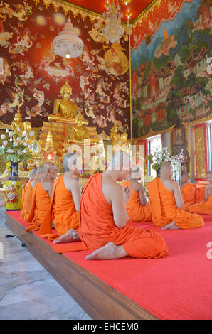 The Ordination Ceremony of a Monk at Wat Bang Pai in Nonthaburi, Thailand. - Stock Photo