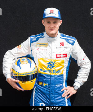 Albert Park, Melbourne, Australia. 12th Mar, 2015. Marcus Ericsson (SWE) #9 from the Sauber F1 Team pose at the - Stock Photo