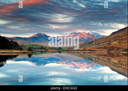 Llynnau Mymbyr, Mount Snowdon & The Snowdon Range in Winter, from Capel Curig, Snowdonia National Park, Wales, UK